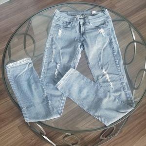 Domino Distressed Pinstripe Pants